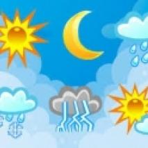 Na niebieskim tle ikony przedstawiające: słońce, księżyc, chmurę z deszczem, śniegiem, piorunami.