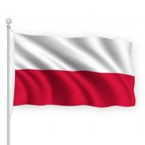 Flaga Polski. Podzielona na dwa równoległe pasy. Od góry kolor biały, od dołu kolor czerwony.